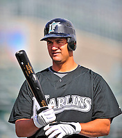 1 March 2009: Florida Marlins' first baseman Gaby Sanchez prepares to take batting practice prior to a Spring Training game against the St. Louis Cardinals at Roger Dean Stadium in Jupiter, Florida. The Cardinals outhit the Marlins 20-13 resulting in a 14-10 win for the Cards. Mandatory Photo Credit: Ed Wolfstein Photo