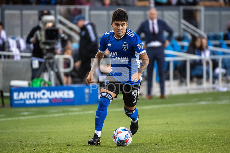 SAN JOSE, CA - MAY 22: Javier Eduardo Lopez #9 of the San Jose Earthquakes dribbles the ball during a game between San Jose Earthquakes and Sporting Kansas City at PayPal Park on May 22, 2021 in San Jose, California.