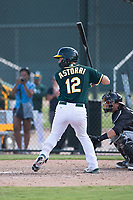 Oakland Athletics catcher Cesare Astorri (12) at bat during an Instructional League game against the Chicago White Sox at Lew Wolff Training Complex on October 5, 2018 in Mesa, Arizona. (Zachary Lucy/Four Seam Images)