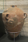 """Israel, Jerusalem, storage jar with stamped handles """"Belonging to the King, Hebron"""" from Lachish, 8th century BC, at the Israel Museum"""