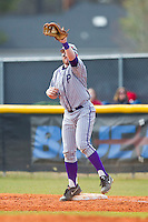 High Point Panthers first baseman Ryan Retz (34) stretches for a throw during the game against the Presbyterian Blue Hose at the Presbyterian College Baseball Complex on March 3, 2013 in Clinton, South Carolina.  The Blue Hose defeated the Panthers 4-1.  (Brian Westerholt/Four Seam Images)