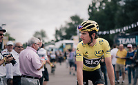 yellow Geraint Thomas (GBR/SKY) on his way to sign-in<br /> <br /> 104th Tour de France 2017<br /> Stage 4 - Mondorf-les-Bains › Vittel (203km)
