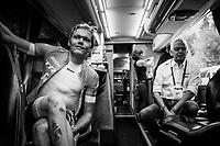 Toms Skujins (LAT/Trek Segafredo) in the teambus pre-warmup<br /> <br /> UCI MEN'S TEAM TIME TRIAL<br /> Ötztal to Innsbruck: 62.8 km<br /> <br /> UCI 2018 Road World Championships<br /> Innsbruck - Tirol / Austria