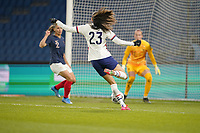 LE HAVRE, FRANCE - APRIL 13: Christen Press #23 of the United States looks to take a shot during a game between France and USWNT at Stade Oceane on April 13, 2021 in Le Havre, France.