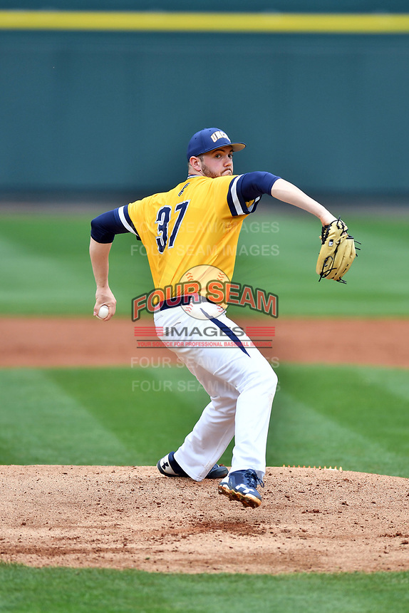 University of North Carolina Greensboro (UNCG) Spartans starting pitcher Bryce Hensley (37) delivers a pitch during a game against the Tennessee Volunteers at Lindsey Nelson Stadium on February 24, 2018 in Knoxville, Tennessee. The Volunteers defeated Spartans 11-4. (Tony Farlow/Four Seam Images)