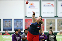 WINSTON-SALEM, NC - FEBRUARY 08: Summer Travis of Cumberlands University competes in the Women's Shot Put at JDL Fast Track on February 08, 2020 in Winston-Salem, North Carolina.