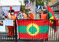Oromo Women in the UK protest outside Downing Street against Ethiopian Prime Minister Abiy Ahmed's human rights abuse against people in their homeland. Oromia is a federal state in Ethiopia with a population almost equal to that of the UK - 55 million - and bordered by Somalia, South Sudan and Kenya. Downing Street, London October 14th 2020<br /> <br /> Photo by Keith Mayhew