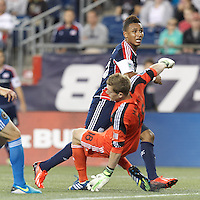 New England Revolution forward Juan Agudelo (10), in close, scores. In a Major League Soccer (MLS) match, the New England Revolution (dark blue) defeated Philadelphia Union (light blue), 5-1, at Gillette Stadium on August 25, 2013.
