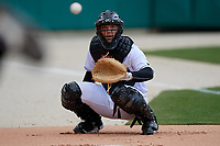 Indianapolis Indians catcher Jacob Stallings (32) in the bullpen before a game against the Toledo Mud Hens on May 2, 2017 at Victory Field in Indianapolis, Indiana.  Indianapolis defeated Toledo 9-2.  (Mike Janes/Four Seam Images)