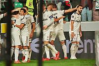 30th September 2021; Marshall Józef Piłsudski's Municipal Stadium, Warsaw, Poland: Europa League fooball, Legia Warsaw versus Leicester City;  Legia celebrate their win with fans