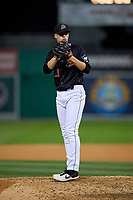 Batavia Muckdogs pitcher Eli Villalobos (21) during a NY-Penn League Semifinal Playoff game against the Lowell Spinners on September 4, 2019 at Dwyer Stadium in Batavia, New York.  Batavia defeated Lowell 4-1.  (Mike Janes/Four Seam Images)