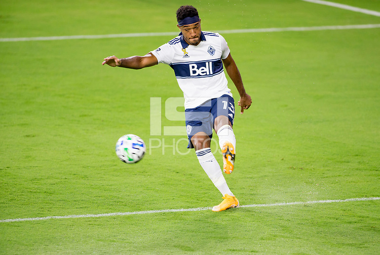 LOS ANGELES, CA - SEPTEMBER 23: Derek Cornelius #13 of the Vancouver Whitecaps clears a ball during a game between Vancouver Whitecaps and Los Angeles FC at Banc of California Stadium on September 23, 2020 in Los Angeles, California.