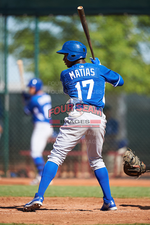 Kansas City Royals Seuly Matias (17) during an Instructional League game against the Cleveland Indians on October 11, 2016 at the Cleveland Indians Player Development Complex in Goodyear, Arizona.  (Mike Janes/Four Seam Images)