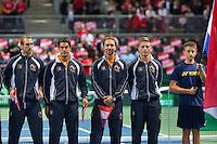 Switserland, Genève, September 18, 2015, Tennis,   Davis Cup, Switserland-Netherlands, Openings ceremony, Dutch team<br /> Photo: Tennisimages/Henk Koster