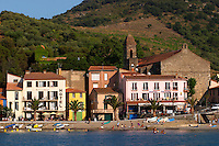 The beach in the village. Colourful houses along the water. Collioure. Roussillon. France. Europe.