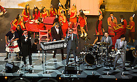 "12 AUG 2012 - LONDON, GBR - Madness perform ""Our House""  during the Street Party section of the London 2012 Olympic Games Closing Ceremony in the Olympic Stadium in the Olympic Park, Stratford, London, Great Britain (PHOTO (C) 2012 NIGEL FARROW)"