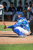 Ryan Scott (15) of the Ogden Raptors on defense against the Grand Junction Rockies in Pioneer League action at Lindquist Field on July 5, 2015 in Ogden, Utah. Ogden defeated Grand Junction 12-2. (Stephen Smith/Four Seam Images)