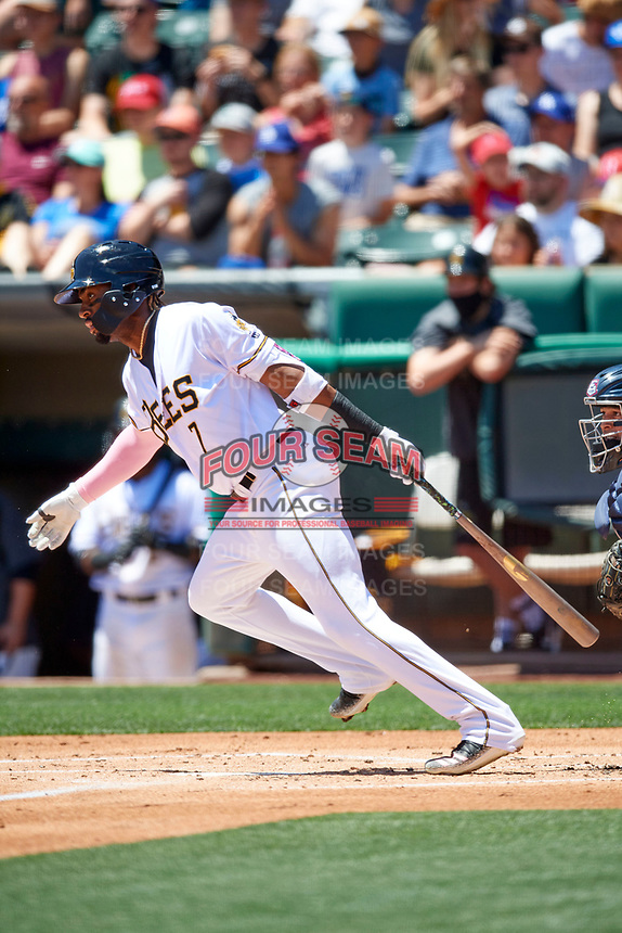 Jo Adell (7) of the Salt Lake Bees at bat against the Round Rock Express at Smith's Ballpark on May 31, 2021 in Salt Lake City, Utah. The Express defeated the Bees 8-6. (Stephen Smith/Four Seam Images)