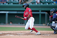 Center fielder Luke Bandy (51) of the Greenville Drive during a game against the Brooklyn Cyclones on Friday, May 14, 2021, at Fluor Field at the West End in Greenville, South Carolina. The catcher is Jose Mena (16). (Tom Priddy/Four Seam Images)