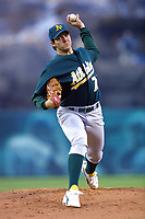 Barry Zito of the Oakland Athletics during a 2001 season MLB game at Angel Stadium in Anaheim, California. (Larry Goren/Four Seam Images)