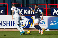 24th April 2021; Dens Park, Dundee, Scotland; Scottish Championship Football, Dundee FC versus Raith Rovers; Alex Jakubiak of Dundee takes on Kieran MacDonald of Raith Rovers