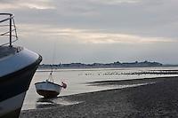 Europe/France/Picardie/80/Somme/Baie de Somme/ Le Hourdel: Paysage  de la Baie de Somme- Bateaux de pêche