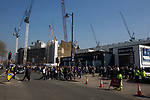 Tottenham Hotspur 4 Watford 0, 08/04/2017. White Hart Lane, Premier League. Supporters gathering outside the ground before Tottenham Hotspur took on Watford in an English Premier League match at White Hart Lane. Spurs were due to make an announcement in April 2016 regarding when they would move out of their historic home and relocate to Wembley as their new stadium was completed. Spurs won this match 4-0 watched by a crowd of 31,706, a reduced attendance figure due to the ongoing ground redevelopment. Photo by Colin McPherson.