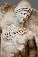 Photo of Roman releif sculpture of Emperor Claudius About to vanquish Britanica from Aphrodisias, Turkey, Images of Roman art bas releifs. Naked warrior Claudius id about to deliver the death blow to Britanica.