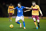 Motherwell v St Johnstone…..30.11.19   Fir Park   SPFL<br />Jason Holt fends off Liam Polworth<br />Picture by Graeme Hart.<br />Copyright Perthshire Picture Agency<br />Tel: 01738 623350  Mobile: 07990 594431