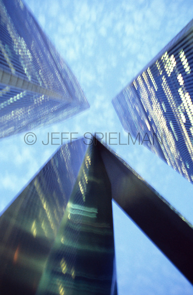 AVAILABLE FROM JEFF AS A FINE ART PRINT<br /> <br /> AVAILABLE FOR COMMERICAL AND EDITORIAL LICENSING FROM GETTY IMAGES.  Please go to www.gettyimages.com and search for image # 10173580<br /> <br /> Upward View of the World Trade Center at Dusk, September 2000, New York City, New York State, USA