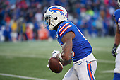 Buffalo Bills Robert Foster (16) celebrates catching a pass a pass during an NFL football game against the New York Jets, Sunday, December 9, 2018, in Orchard Park, N.Y.  (Mike Janes Photography)