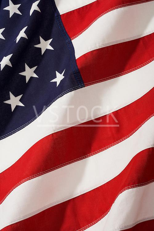 American flag, close-up