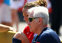 WASHINGTON D.C. - September 02, 2013:<br /> Lauren Holiday  and coach Tom Sermanni During a USA WNT open practice at RFK Stadium, in Washington D.C. the day before the USA v Mexico international friendly match.