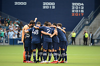 KANSAS CITY, KS - AUGUST 10: Sporting KC players in a pre match huddle during a game between Club Leon and Sporting Kansas City at Children's Mercy Park on August 10, 2021 in Kansas City, Kansas.