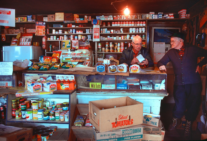 Gilbert and George Knowles in their old fashioned store at Epson, New Hampshire. All tht remains  now is a stone foundation. Photogaph by Peter E. Randall