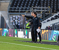 12th September 2020; Pride Park, Derby, East Midlands; English Championship Football, Derby County versus Reading; Reading Manager Veljko Paunovic points to a player on the pitch with Derby County Manager Phillip Cocu next to him
