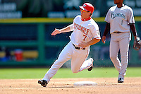 5 September 2005: Brad Wilkerson, of the Washington Nationals, rounds second base in a game against the Florida Marlins. The Nationals defeated the Marlins 5-2 at RFK Stadium in Washington, DC, maintaining a close race for the NL Wildcard spot. Mandatory Photo Credit: Ed Wolfstein.
