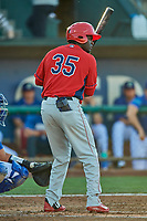 Cristian Gomez (35) of the Orem Owlz at bat against the Ogden Raptors at Lindquist Field on September 3, 2019 in Ogden, Utah. The Raptors defeated the Owlz 12-0. (Stephen Smith/Four Seam Images)