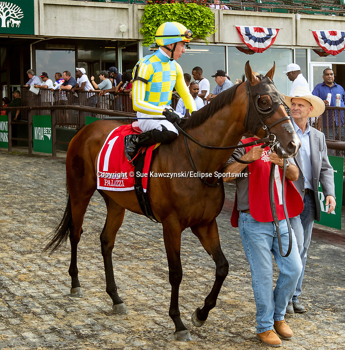 JULY 10, 2021: Palazzi post parade in the Gr.1 Belmont Derby Invitational Stakes, going 1 1/4 mile on the turf, at Belmont Park in Elmont, New York. Sue Kawczynski/Eclipse Sportswire/CSM