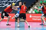Gunnar Steinn Jonsson (FAG) wird am Wurf gehindertz beim Spiel in der Handball Bundesliga, Frisch Auf Goeppingen - Fuechse Berlin.<br /> <br /> Foto © PIX-Sportfotos *** Foto ist honorarpflichtig! *** Auf Anfrage in hoeherer Qualitaet/Aufloesung. Belegexemplar erbeten. Veroeffentlichung ausschliesslich fuer journalistisch-publizistische Zwecke. For editorial use only.