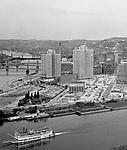 Pittsburgh PA: View of the city and the construction of Gateway Center from Mount Washington.