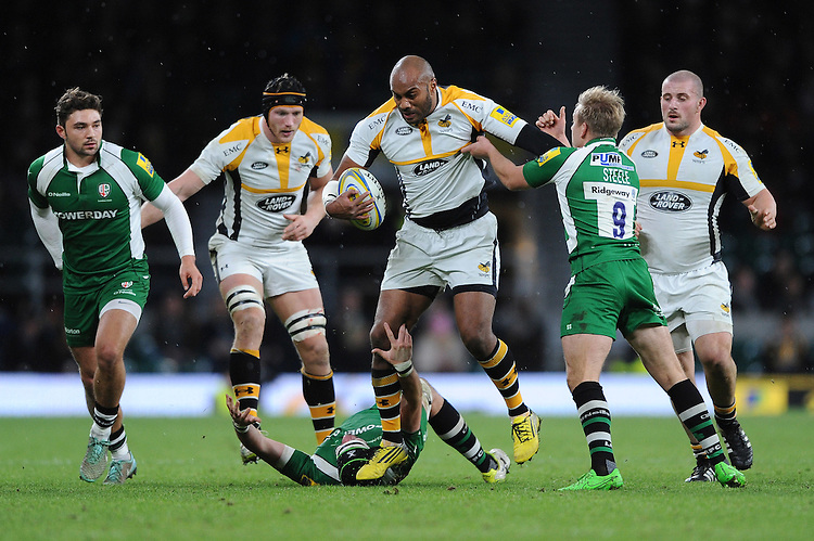 Sailosi Tagicakibau of Wasps in action during the Premiership Rugby match between London Irish and Wasps - 28/11/2015 - Twickenham Stadium, London<br /> Mandatory Credit: Rob Munro/Stewart Communications
