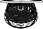 Car Stock 2019 Cadillac Escalade Platinum 5 Door SUV Engine  high angle detail view