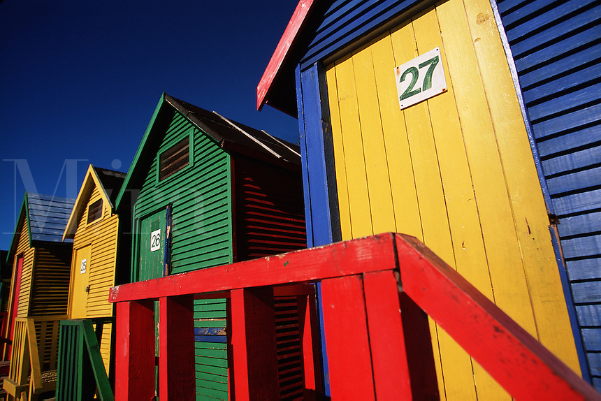 Abstract view of the colorful St. James bathing boxes on False Bay Shore. Cape Peninsula, South Africa..