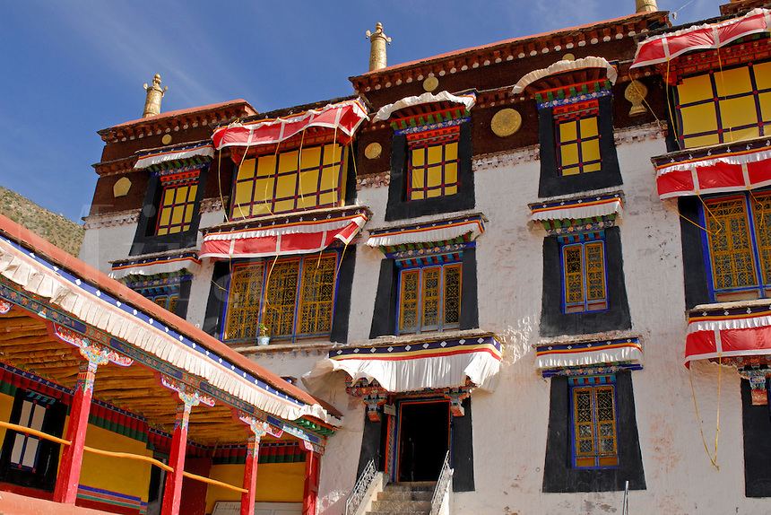 Chapels at Ganden Palace are apartments of past Dalai Lamas at Drepung Monastery, Lhasa, Tibet, China.