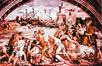 """Vatican:  Raphael's Rooms--""""The Battle of Ostia"""",  a fresco by Raphael in a reception room (Fire in the Borgo) of the Palace of the Vatican."""