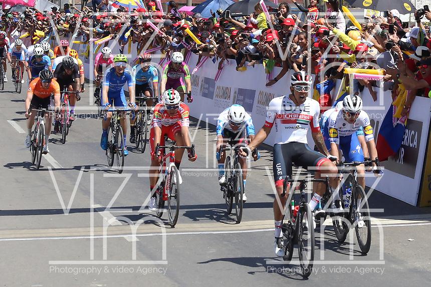 TUNJA - COLOMBIA, 11-02-2020: Juan Sebastian Molano Benavides (COL) UAE TEAM EMIRATES, gana la segunda etapa del Tour Colombia 2.1 2020 con un recorrido de 152,4 km, que se corrió entre Paipa y Duitama, Boyacá. / Juan Sebastian Molano Benavides (COL) UAE TEAM EMIRATES wins the second stage of 152,4 km as part of Tour Colombia 2.1 2020 that ran between Paipa and Duitama, Boyaca.  Photo: VizzorImage / Darlin Bejarano / Cont