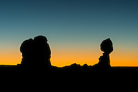 Balanced Rock in Arches National Park Utah just after sun set.