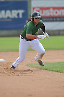 Clinton LumberKings Alex Jackson (35) heads toward third base during the Midwest League game against the Beloit Snappers at Ashford University Field on June 12, 2016 in Clinton, Iowa.  The LumberKings won 1-0.  (Dennis Hubbard/Four Seam Images)