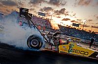 Apr. 29, 2011; Baytown, TX, USA: NHRA top fuel dragster driver Morgan Lucas during qualifying for the Spring Nationals at Royal Purple Raceway. Mandatory Credit: Mark J. Rebilas-